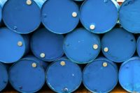 Oil barrels or chemical drums stacked up