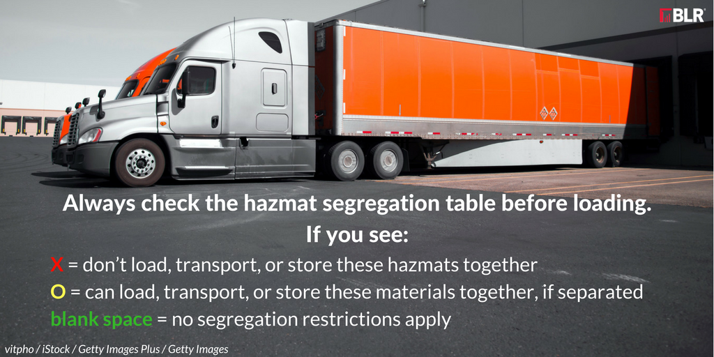 how to use the hazmat segregation table
