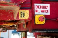 emergency kill switch and pinch point labels