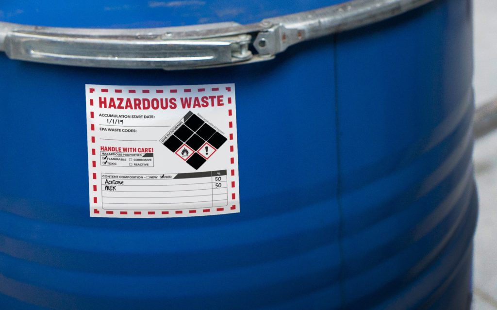 Avery hazardous waste label (close up)