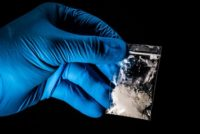 Fentanyl in a bag safely handled with gloves