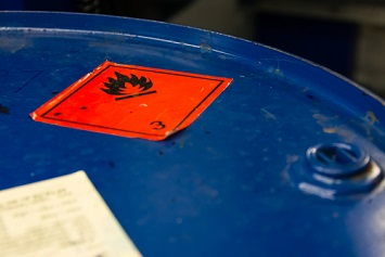 flammable chemical waste barrel warning label