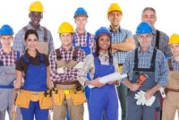 Diverse safety professionals, workers