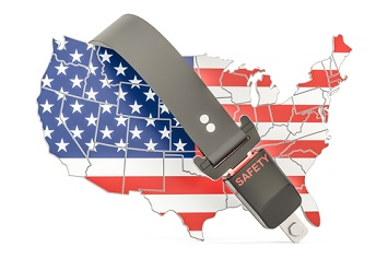 USA map safety belt