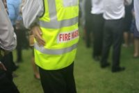 Fire warden at fire drill