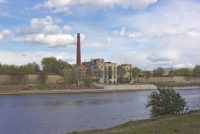 Superfund site, abandoned industrial building on river