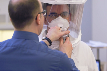 Proper PPE mask fitting, fit test