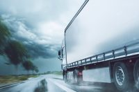 Truck driving in a storm