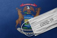 Michigan flag and COVID-19