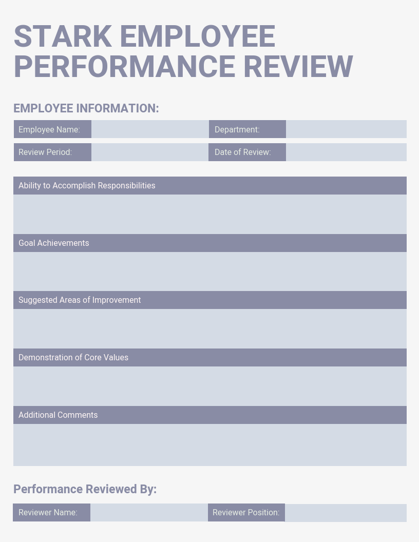 Employee Performance Review Template