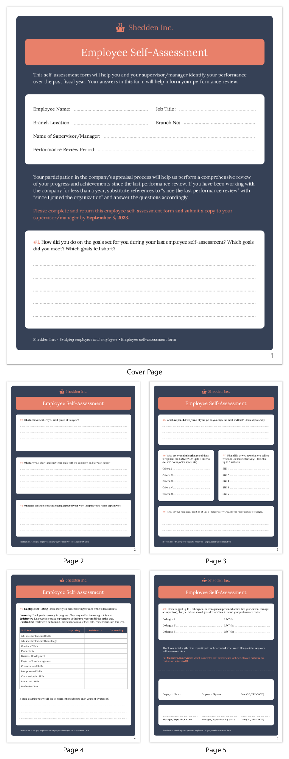 Annual Employee Self-Evaluation Performance Form Template