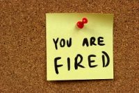 You Are Fired on post it note
