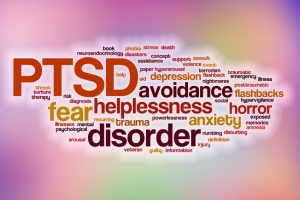 PTSD word cloud with abstract background