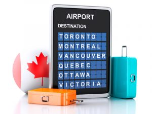 3d Canada airport board and travel suitcases on white backgroun