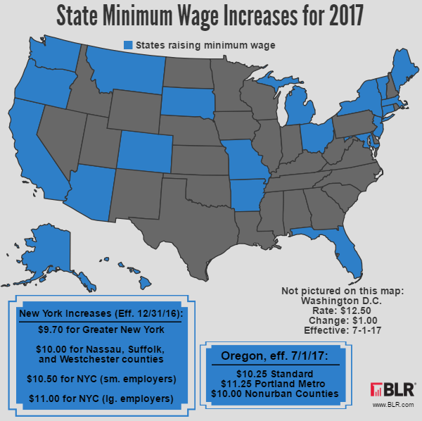 State Minimum Wage Increases For Map HR Daily Advisor - Minimum wage us map