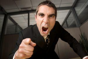 Businessman yelling