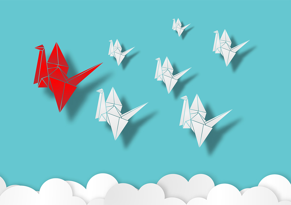 Paper Art Style Leadership Concept With Origami Red Paper Bird