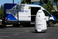 KnightScope Robot in a Parking Lot
