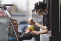 A fast food drive-thru worker