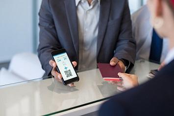 Man with passport check into flight