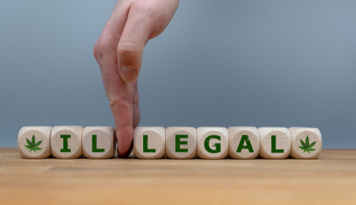 """Dice form the word """"ILLEGAL"""" while a hand seperates the letters """"IL"""" in order to change the word to """"LEGAL""""."""