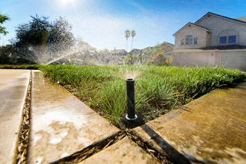 Low angle sprinklers in action.