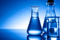 Industrial chemicals in flasks