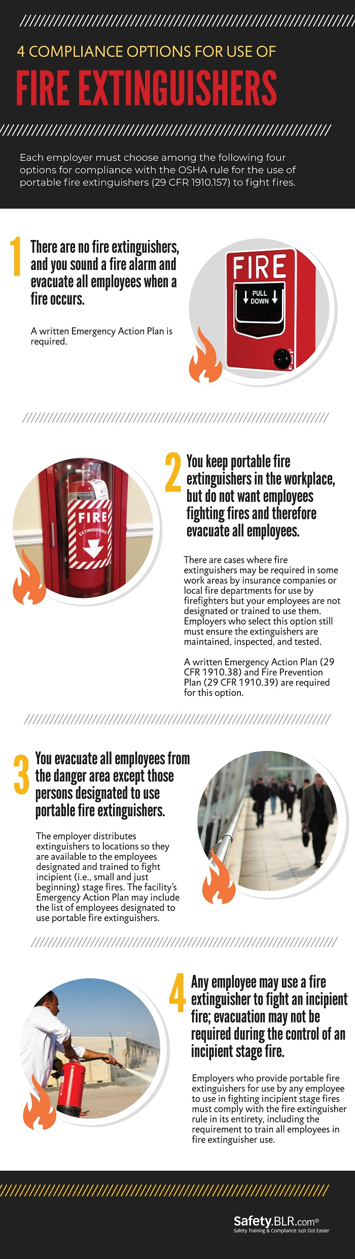 Four Compliance Options For Use Of Fire Extinguishers