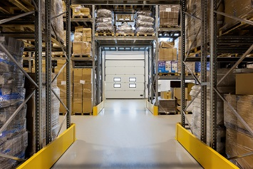 View of loading dock door inside a warehouse facility