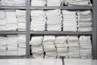 folded linens in laundry facility