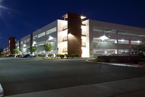 Modern Parking Garage at Night