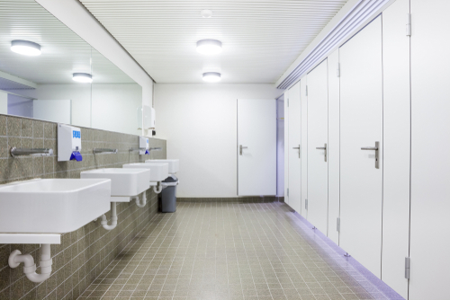 Photo of a facility restroom; bathroom